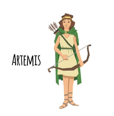 Illustration pour Artemis, ancient Greek goddess greek of the hunters. Ancient Greece mythology. Flat vector illustration. Isolated on white background. - image libre de droit