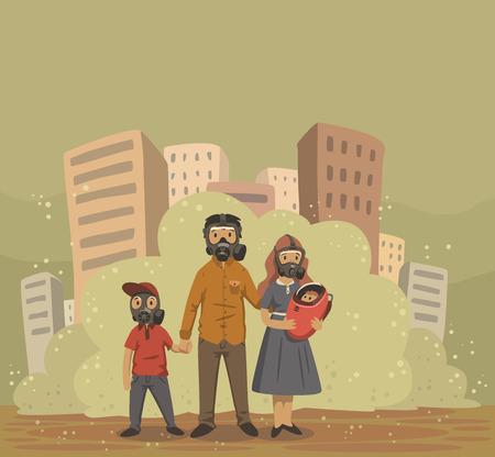 Ilustración de Family in gas masks on smog dusty city background. Environmental problems, air pollution. Flat vector illustration. - Imagen libre de derechos