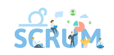 Illustration pour SCRUM framework. Concept with keywords, letters and icons. Colored flat vector illustration on white background. - image libre de droit