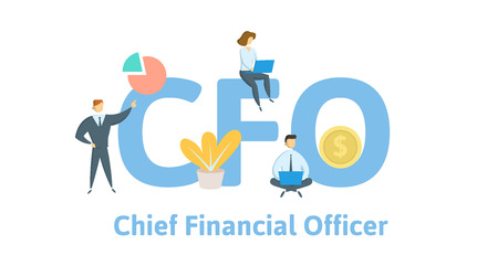 Illustration pour CFO, Chief Financial Officer. Concept with keywords, letters, and icons. - image libre de droit
