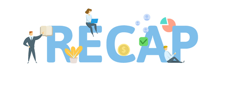RECAP. Concept with people, letters and icons. Colored flat vector illustration. Isolated on white background.