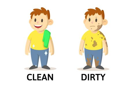 Illustration for Words clean and dirty textcard with cartoon characters. Opposite adjectives explanation card. Flat vector illustration, isolated on white background. - Royalty Free Image