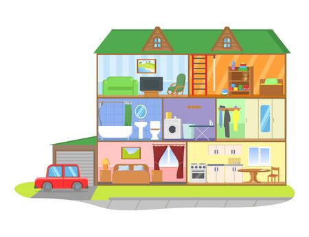 Illustration pour Three-storie house model cross section. Rooms with furniture, detailed interior. Colorful flat vector illustration, isolated on white background. - image libre de droit