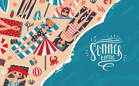 Summer time. Horizontal advertising banner of recreation, relax, travel theme. Trendy young people sunbathe on beach. Top view. Colorful vector illustration in cartoon style with lettering.