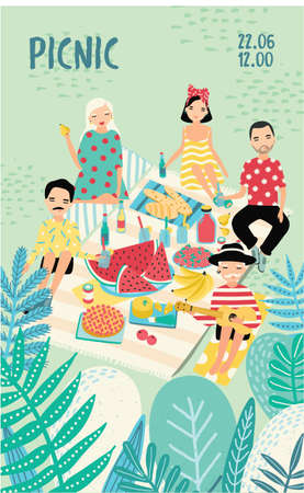 Vertical advertising poster on a picnic theme. Illustration with young trendy people, friends, relax outdoors. Bright placard in cartoon style with place for text. Colorful vector, recreation scene.