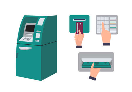 Automated teller machine and hand inserting credit card into ATM