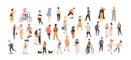 Illustration pour Crowd of people performing summer outdoor activities. Group of male and female flat cartoon characters isolated on white background. Vector illustration. - image libre de droit