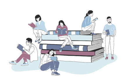 Illustration pour Male and female readers dressed in stylish clothes sitting on pile of giant books or beside it and reading. Studying students or literature fans. Colored vector illustration in modern style. - image libre de droit