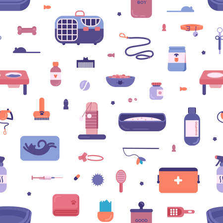 Seamless pattern with pet store products for cats and dogs on white background. Backdrop with goods for domestic animals treatment, entertainment, grooming, feeding, care. Flat vector illustration
