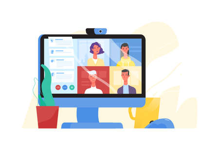 Illustration pour Desktop computer with group of colleagues taking part in video conference. Software for videoconferencing and online communication. Virtual work meeting. Modern vector illustration in flat style - image libre de droit