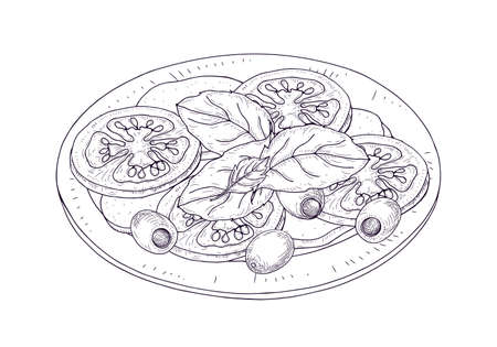 Illustration for Caprese salad on plate hand drawn with contour lines on white background. Wholesome tasty Italian restaurant meal made of fresh tomatoes, mozzarella, basil, olives. Realistic vector illustration - Royalty Free Image