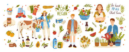 Illustration for Collection of organic eco vegan products - natural cosmetics, vegetables, fruits, berries, tofu, nut butter, soy and coconut milk. Urban gardening and farming set. Flat cartoon vector illustration - Royalty Free Image