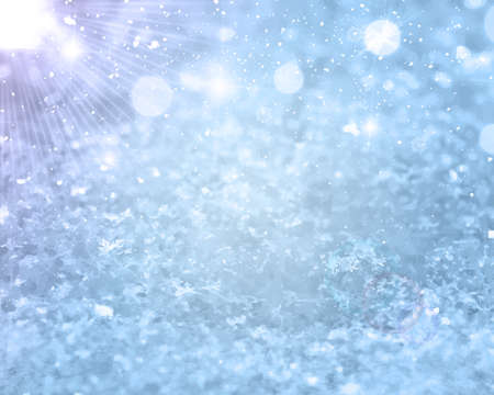 Illustration pour Realistic falling snow. Christmas or Winter background for greetings or advertising with place for text. Glows Frost effect Vector Illustration EPS 10 Isolated - image libre de droit