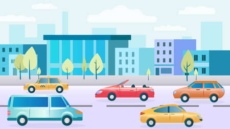 City street with cars. Modern houses, shops, sidewalks. Highway Traffic. Cars Collection. The bustle of the big city. City background. The problem of high traffic in cities. Flat Vector Illustration