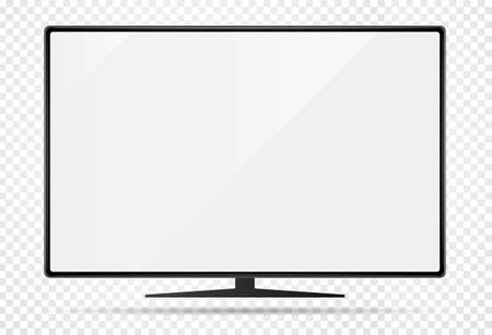 Illustration pour Realistic new modern TV monitor with blank screen. Isolated on transparent background. Can be a template for infographics or presentation of interface. Frame less monitor. Vector Illustration - image libre de droit