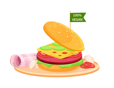 Illustration pour ake Meat Burger. Artificial Cultured meat Concept. Lab grown burger. Plant based beyond meat hamburger. Easy to edit and customize Vector Flat - image libre de droit