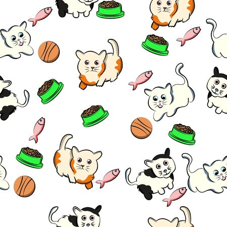 Illustration pour seamless pattern funny cat cartoon pet, kitty, kitten, doodle, with white background - image libre de droit