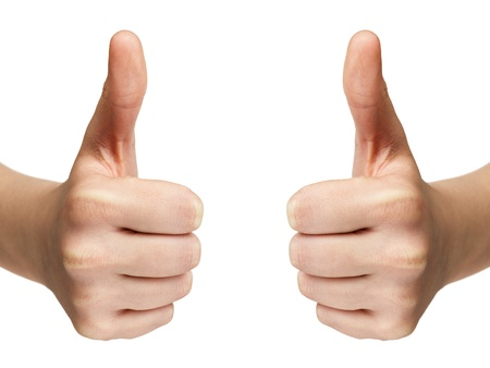 female teen hands shows thumbs up, isolated on white