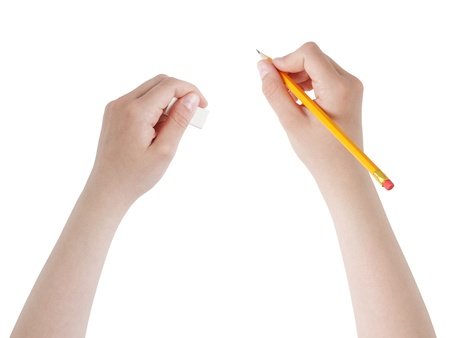 female teen hands with pencil and eraser, isolated