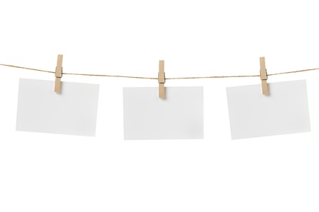 paper cards hanging on the rope, isolated