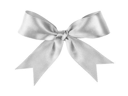 silver tied festive bow made from ribbon, isolated on white
