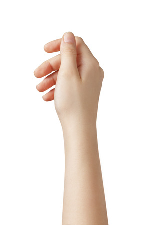 female teen hand to hold something from above, isolated