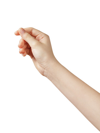 female teen hand to hold something, isolated