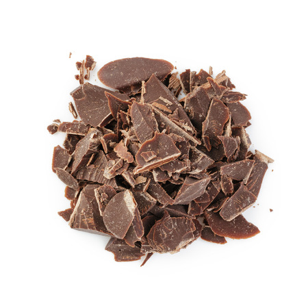 heap of crushed chocolate, from above on white background