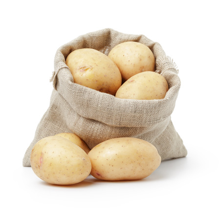 raw fresh potatoes in burlap bag isolated on white