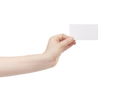 young female left hand hold blank white paper card, isolated on white