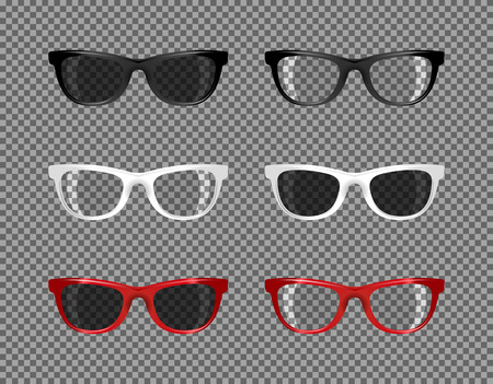 stock set of sunglasses translucent for photomontage