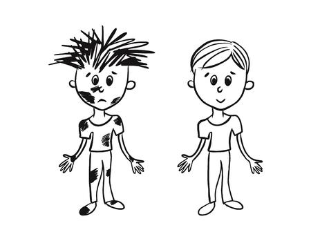 Illustration pour clean and dirty boy - image libre de droit