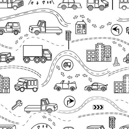 Illustration pour Colored seamless background with a variety of vehicles, signs, road - image libre de droit