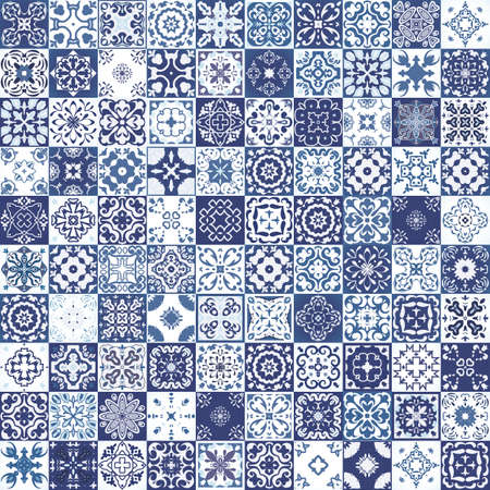 Illustration for Mega Gorgeous seamless patchwork pattern from colorful Moroccan tiles, ornaments. Can be used for wallpaper, pattern fills, web page background,surface textures. - Royalty Free Image