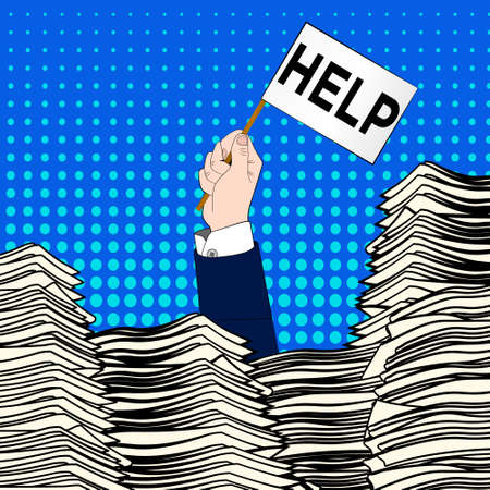 Hand of caucasian businessman emerging from office desk loaded of paperwork , invoices and a lot of papers and documents holding message card asking for help.