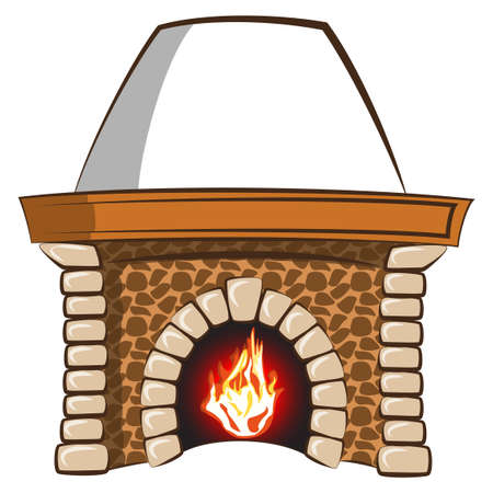 Stone fireplace with flame -separated vector elements
