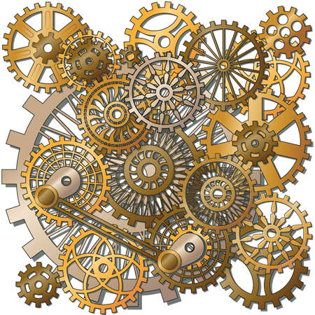 the gears in the style of steampunk. Gradient mash