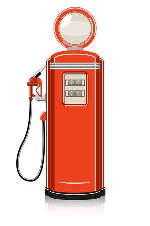 Retro Gas Pump on white background.