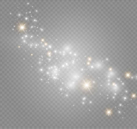Illustration pour Dust on a transparent background.bright stars.The glow lighting effect. vector illustration.the sun is shining. magic - image libre de droit