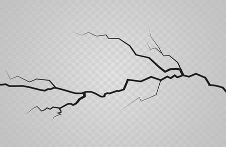 Illustration for Set of vector cracks isolated on transparent background - Royalty Free Image
