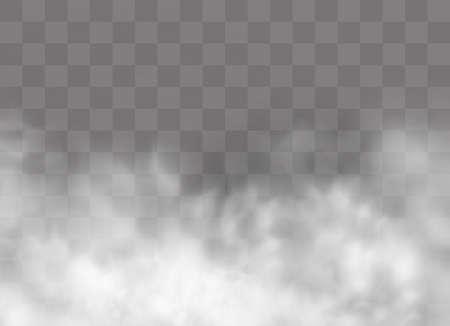 Illustration pour Transparent special effect stands out with fog or smoke. White cloud vector, fog or smog. Vector illustration. White gradient on a transparent background. Rainy weather on a transparent background. - image libre de droit