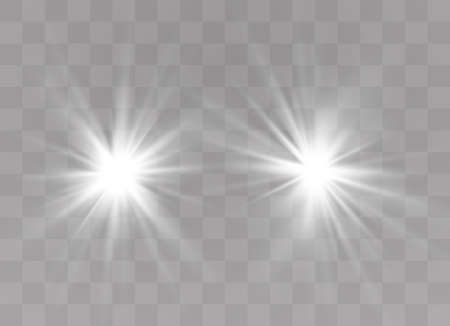 White glowing light explodes on a transparent background