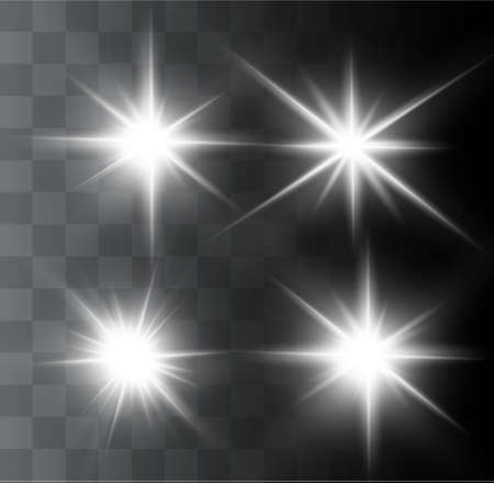 Illustration for A beautiful glowing light explodes on a transparent background. Glittering magic dust particles. Bright Star. Transparent shining sun, bright flash. Vector sparkles. In the center of a bright flash. - Royalty Free Image