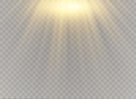 Illustration for Vector transparent sunlight special lens flash light effect.front sun lens flash. Vector blur in the light of radiance. Element of decor. Horizontal stellar rays and searchlight. - Royalty Free Image