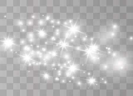 Illustration pour The white dust sparks and golden stars shine with special light. Vector sparkles on a transparent background.  Sparkling magical dust particles. - image libre de droit