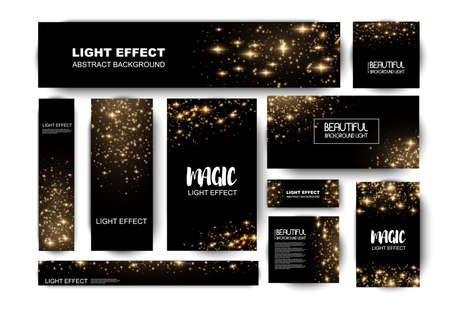 Illustration pour Banner with yellow dust. Light effect on beautiful banners. Dust effect. Dust particles flicker on a dark background. vector illustration. magic and magic. - image libre de droit