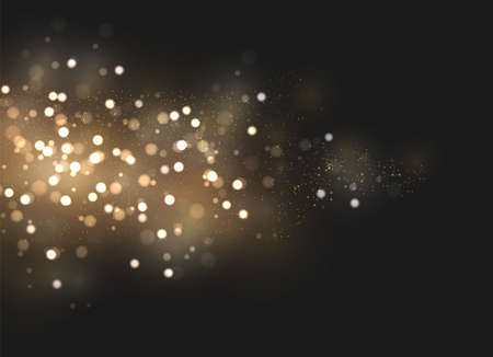 Illustration for The dust sparks and golden stars shine with special light. Vector sparkles on a transparent background. Christmas light effect. Sparkling magical dust particles. - Royalty Free Image