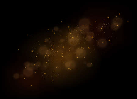 Illustration for The dust sparks and golden stars shine with special light. Vector sparkles on a transparent background. Christmas light effect. Sparkling magical dust particles interior stock vector. - Royalty Free Image