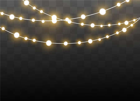 Illustration pour Christmas lights isolated on transparent background. Xmas glowing garland. Vector illustration - image libre de droit