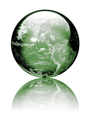 Earth as globe with highlights and reflections. Green to reflect environmental issues Isolated on white. Earth image public domain courtesy http://earthobservatory.nasa.gov/